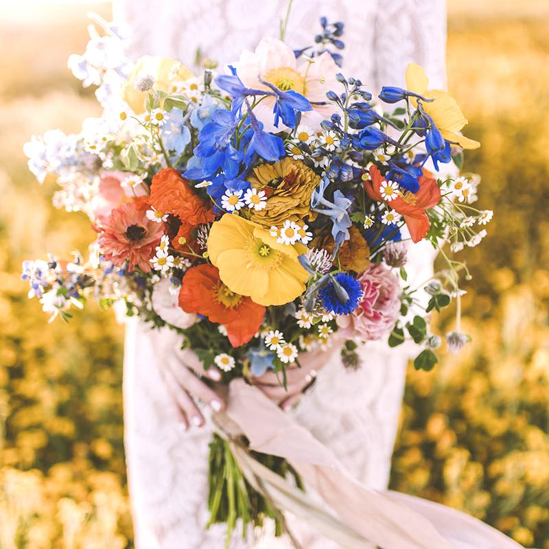 colorful santorini bridal bouquet
