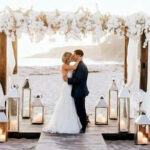 boho chic santorini wedding altar