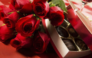 chocolate and flowers gift